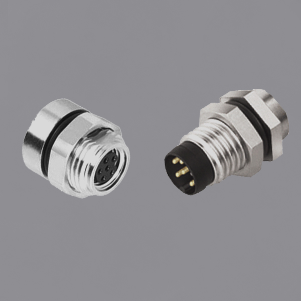 YKM8-PTS2x0xx M8 Circular Waterproof Connector Back Mount Male/Female