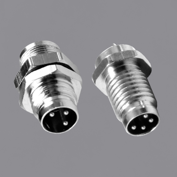 M8 Circular Waterproof Connector Panel Mounting Male Threaded Locking IP67