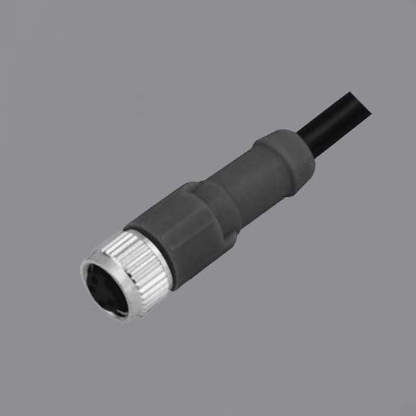 YKM8-OTS020xx M8 Waterproof Connector Threaded Locking Overmolded M8 Female Straight Socket