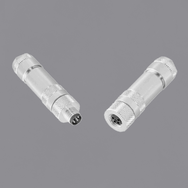 YKM8-QTS0x0xA M8 Waterproof Connector Straight shielded Threaded Locking M8 Circular Connector