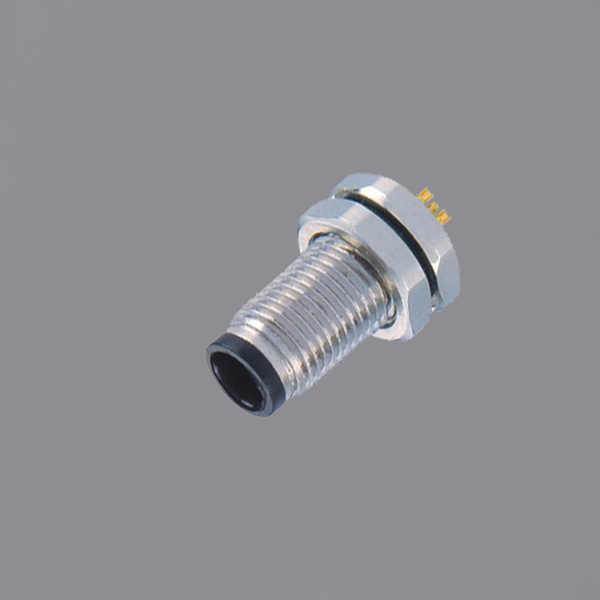 YKM5-PTS110xA M5 Waterproof Connector Panel Mount Threaded Locking IP67 Straight Male Circular Connector