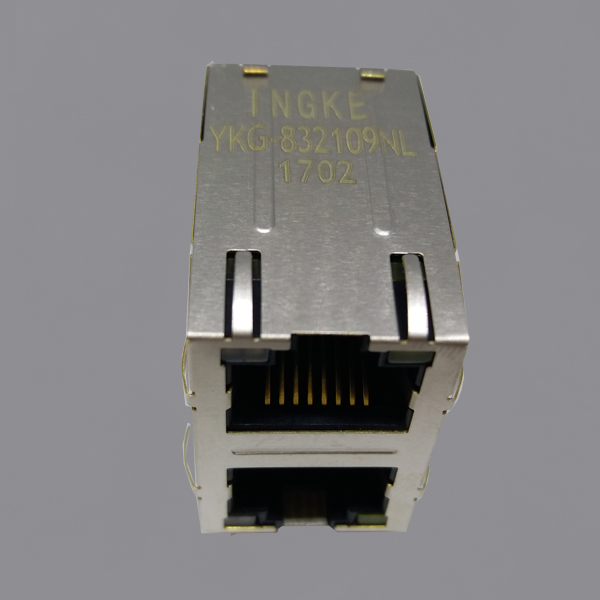 YKG-832109NL 2X1 Ports 1000Base-T RJ45 Modular Jack Gigabit Magnetic Connector with EMI Finger