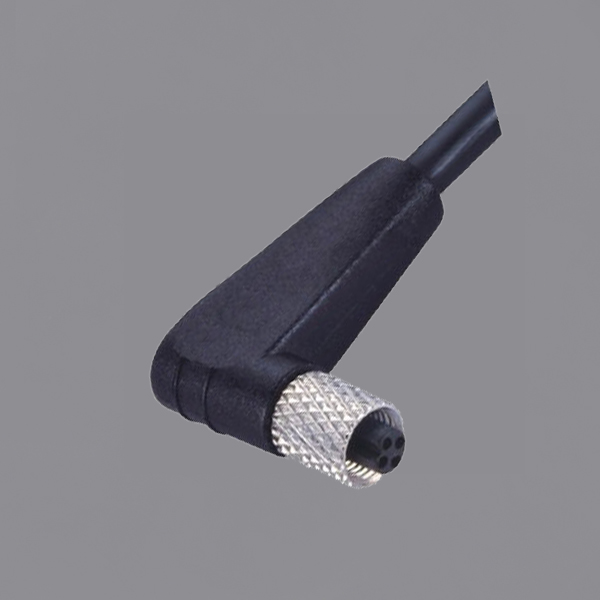 YKM5-OTB020xA M5 Waterproof Connector IP67 Female Right Angle Overmolded Cable Sensor Connector
