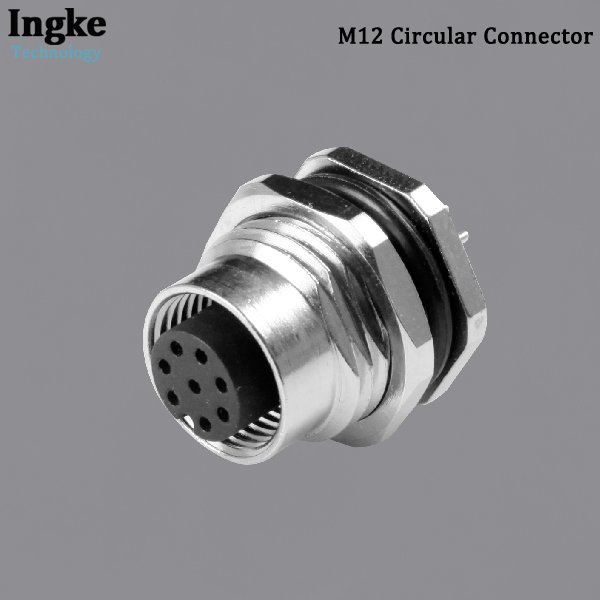 YKM12-FTS020xA M12 Circular Connector IP67 Waterproof Flanged Solder Sensor Socket