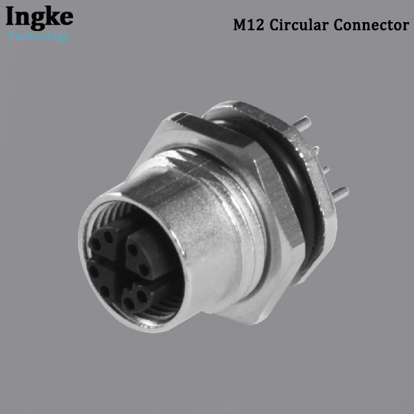 YKM12-FTS1208A M12 Circular Connector IP67 Waterproof Flanged Panel Mounting Sensor Socket