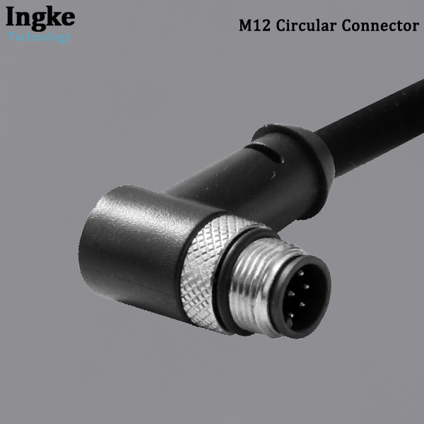 YKM12-OTB110xA M12 Circular Connector IP67 Waterproof Right Angle Cable Assembly Sensor Plug