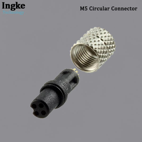 850-004-203RLU1 M5 Circular Connector IP67 Waterproof Threaded Nickel Plated Sensor Socket