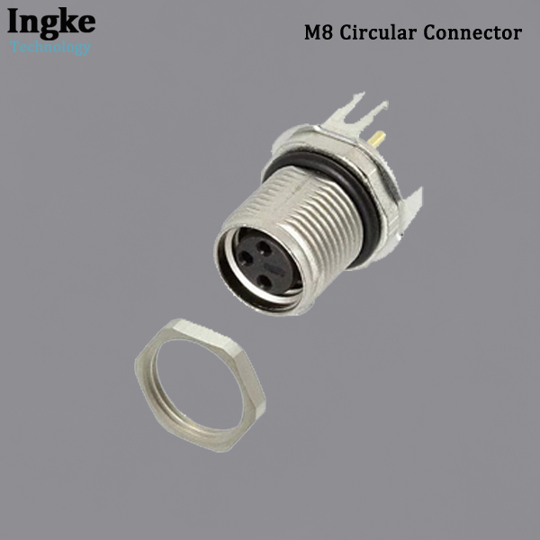 2-2172089-2 M8 Circular Connector IP67 Waterproof PCB Mount Sensor Receptacle with Shield