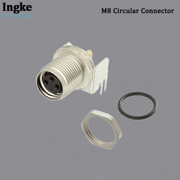 2-2172091-2 M8 Circular Connector IP67 Waterproof Right Angle Sensor Socket with Shield