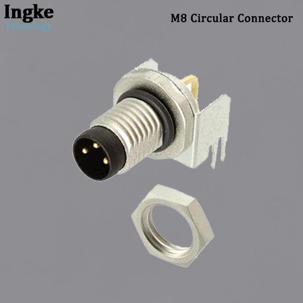 2-2172093-2 M8 Circular Connector PCB Mount Right Angle Sensor Plug with Shield