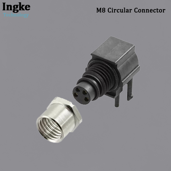 3-2172068-2 M8 Circular Connector PCB Mount Right Angle IP67 Waterproof Sensor Receptacle