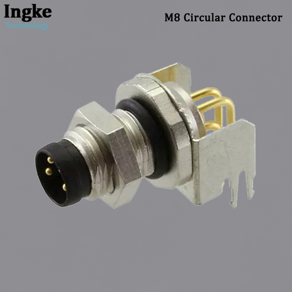 3-2172093-2 M8 Circular Connector Right Angle IP67 Waterproof Shielded Sensor Plug