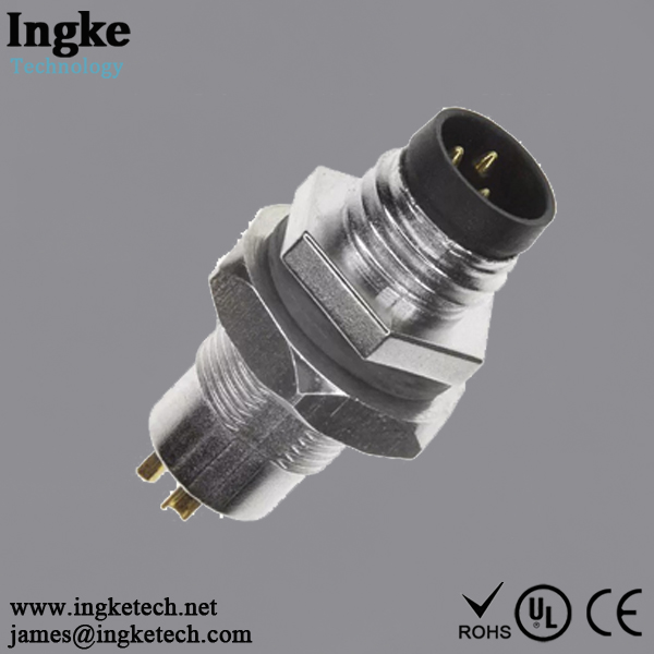 1838838-1 3 Position M8 Circular Connector Plug IP67 Male Pins Solder