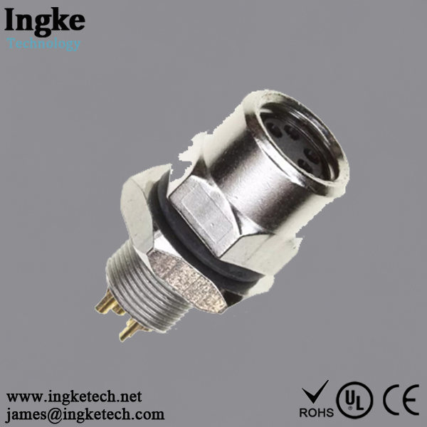1838839-2 4 Position M8 Circular Connector Receptacle IP67 Female Socket Solder
