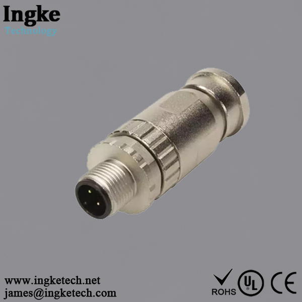 21023591401 4 Position M8 Circular Connector Plug IP67 Male Pin Screw Solder