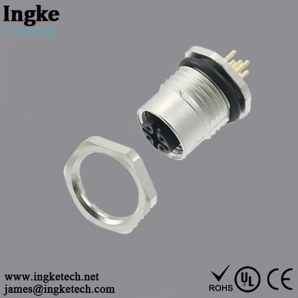 4-2271143-2 5 Position M12 Circular Connector IP68 Female Sensor Socket Solder