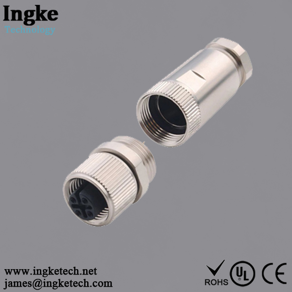 858-004-203RKT1 4 Position M12 Circular Connector IP67 Female Sensor Socket Solder