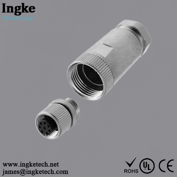 858-008-203RKT1 8 Position M12 Circular Connector IP67 Female Sensor Socket Solder