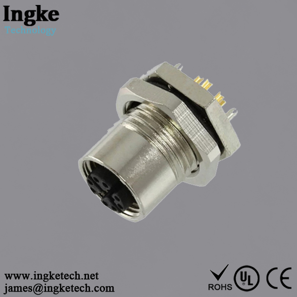 2271195-1 8 Position M12 Circular Connector IP67 Female Sensor Socket Solder