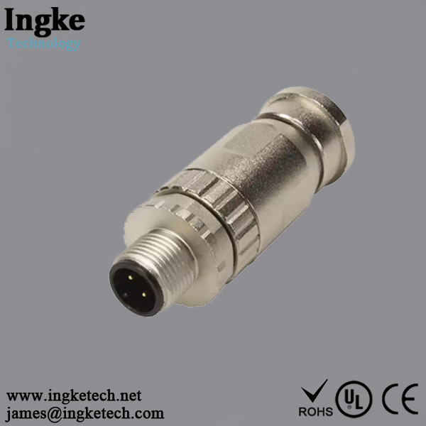 21033891402 4 Position M12 Circular Connector IP67 Male Sensor Plug Screw