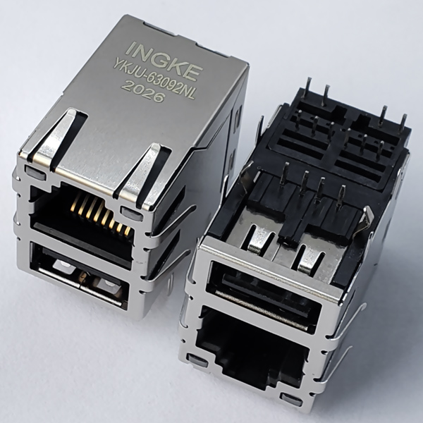YKJU-63092NL 10/100Base-T RJ45 Modular Jack with USB2.0 and EMI Finger