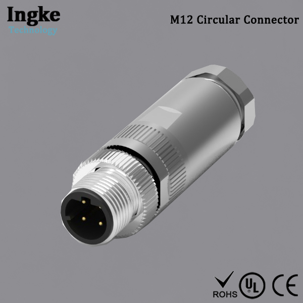8065954 M12 Circular Connector 4 Pin IP67 Field-wireable Connector with Shielded