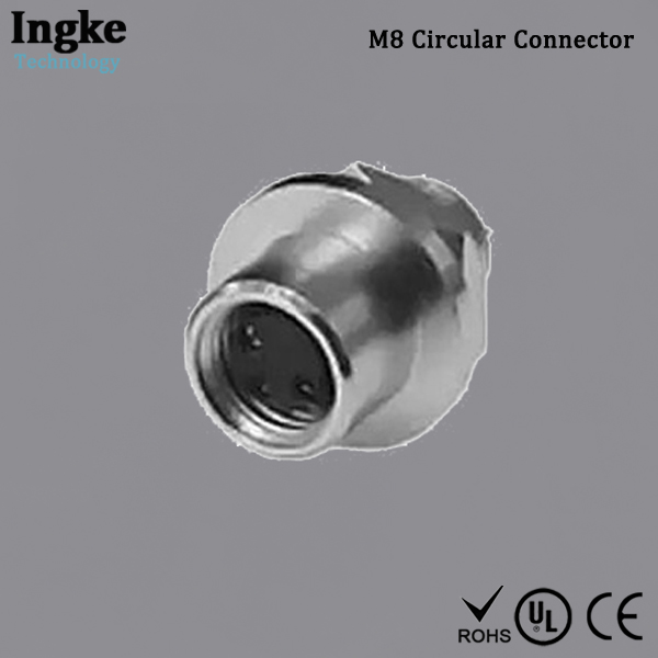1814445-2 M8 Circular Connector Shielded Solder Cup Male Sensor Connector