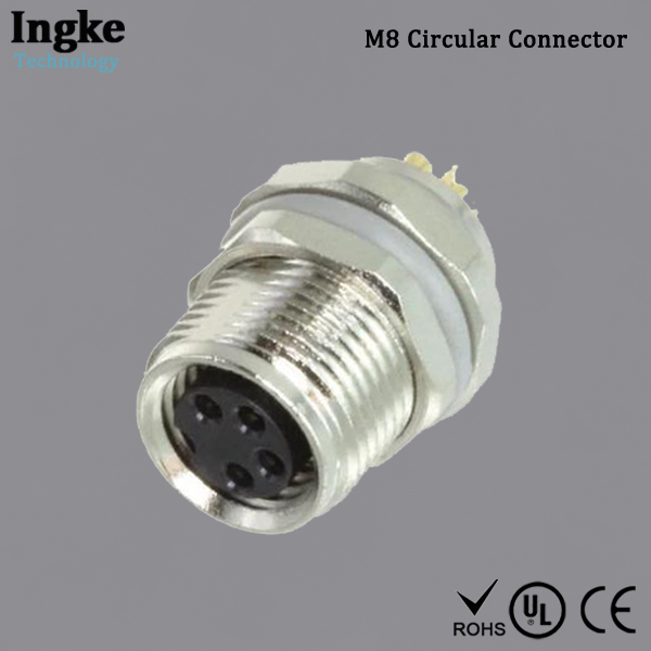 T4031017041-000 M8 Circular Connector IP67 Female Socket Solder Cup Gold