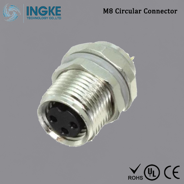 T4031017031 M8 Circular Connector Panel Mount IP67 Waterproof Sensor Socket