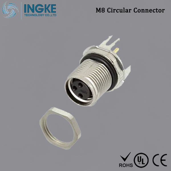 T4041037031-000 M8 Circular Connector Panel Mount IP67 Waterproof Sensor Socket 3Pin