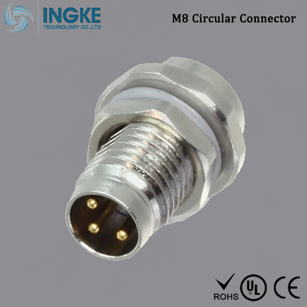 T4030014031-000 M8 Circular Connector Panel Mount IP67 Waterproof Sensor Plug 3Pin