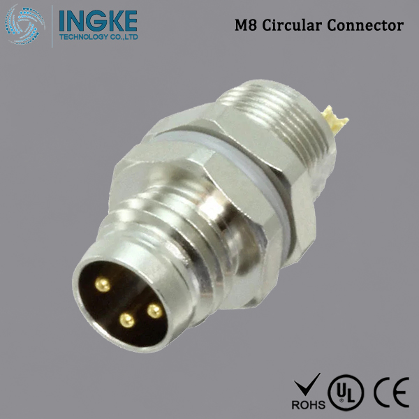 T4032014031-000 M8 Circular Connector Panel Mount IP67 Waterproof Sensor Plug 3Pin