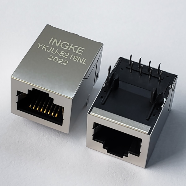 YKJU-8218NL 10/100Base-T RJ45 Magjack Connector Tab Up with Integrated Transformer