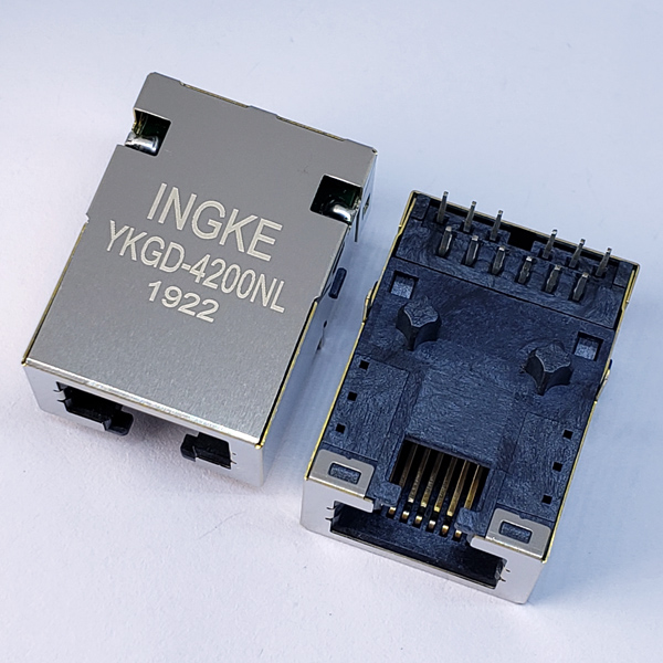 YKGD-4200NL 1000Base-T RJ45 Magjack Connector Gigabit Low Profile Jack