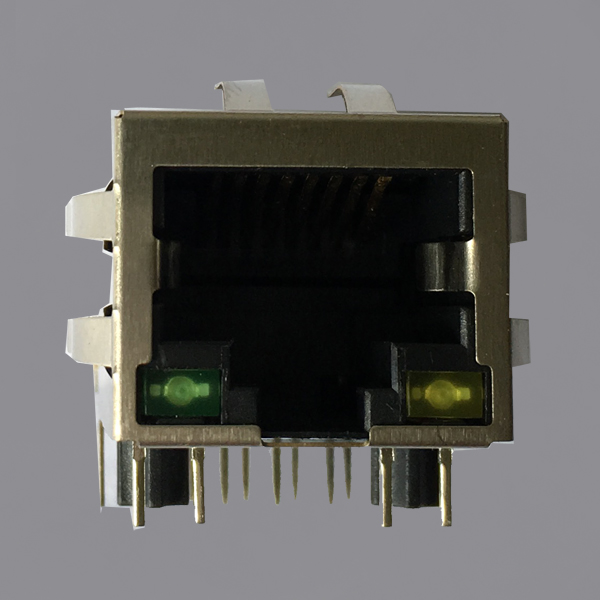 YKGD-8019NL 1000 Base-T Tab Down RJ45 Magjack Connector with LED