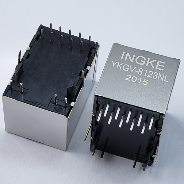 YKGV-8123NL 1000Base-T RJ45 Magjack Connector Vertical Gigabit Magnetic Jack