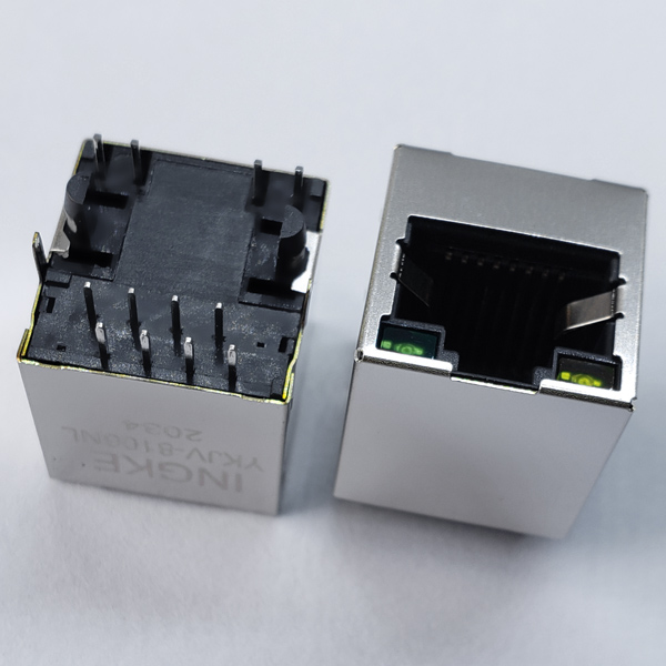 YKJV-8106NL 10/100Base-T RJ45 Magjack Connector Vertical Ethernet Module