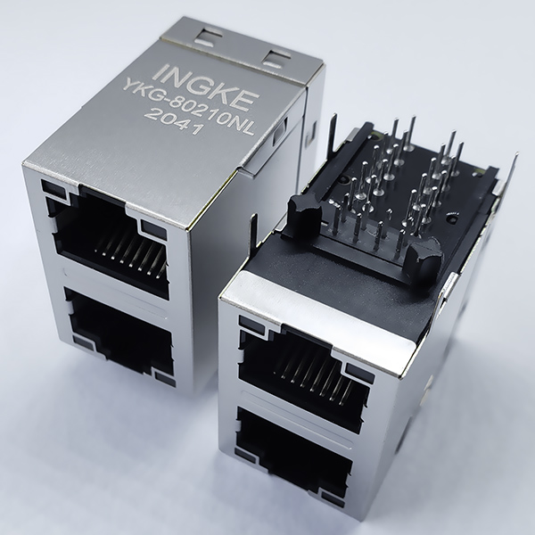 YKG-80210NL 1000Base-T RJ45 Magjack Connector 2x1 Gigabit Stacked Module Interface