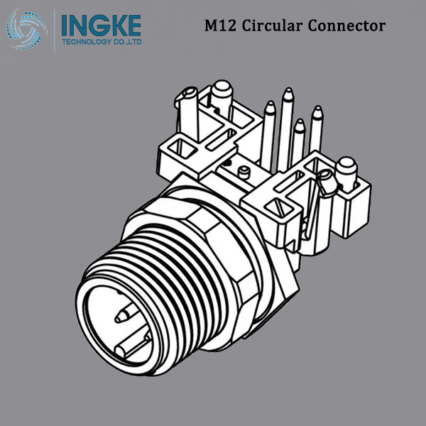 T4144435051 M12 Circular Metric Connector Male, Right Angle, PCB Mount,B-Code,5Pin,IP67 Waterproof