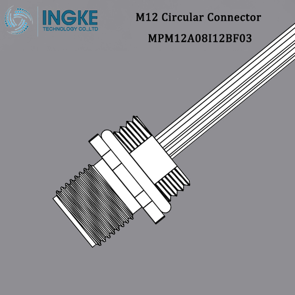 MPM12A08I12BF03 M12 Circular Metric Connector Male,Panel Mount, A-Code,IP67 Waterproof Cable Assembly