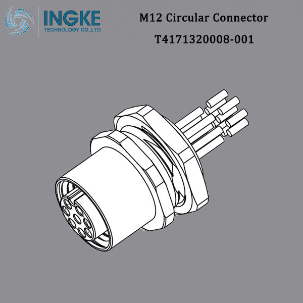 T4171320008-001 M12 Circular Metric Connector,A-Code,Panel Mount with Wire,IP67 Waterproof Sensor