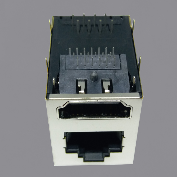 YKHU-8201ENL Single Port Tab Up RJ45 Modular Jack with HDMI
