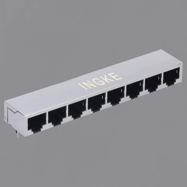 YKJD-821800NL 1X8 Ports 10/100Base-T Tab Down RJ45 Modular Jack with Magnetic