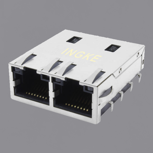 JT8-2000HL 1X2 Ports 10GBase-T RJ45 Modular Jack Connector with EMI Finger
